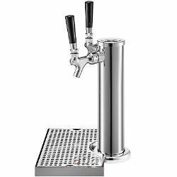 VEVOR 2 Tap Double Chrome Tower Draft Beer Kegerator Keezer Conversion Kit