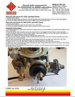 Weber Dgav & Dgas Carburettor Manual Choke Conversion Kit